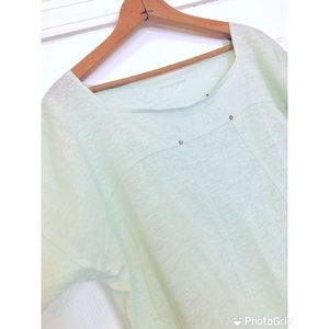 Eileen Fisher Pale Green Linen Top with Studs-S